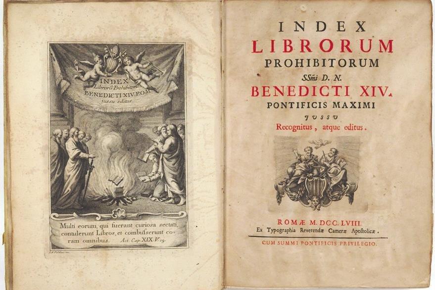 La Iglesia censuró miles de libros por ser contrarios a su dogma.
