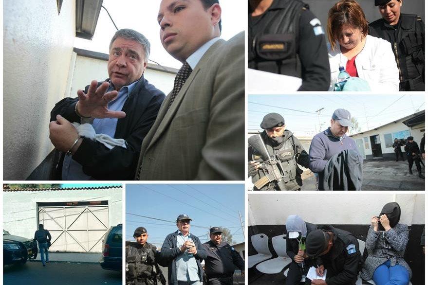 Los capturados son presentados al Juzgado de Villa Nueva para informarles el motivo de su detención. (Foto Prensa Libre: E. Paredes y Erick Ávila)