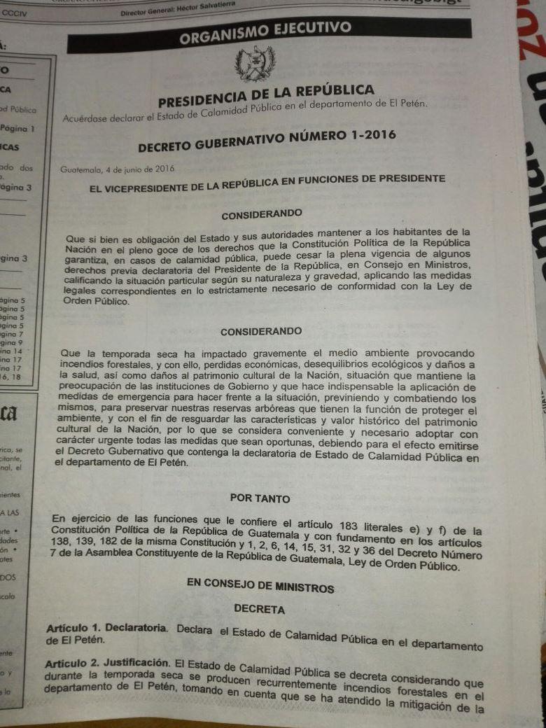 Publican decreto gubernativo en el que se declara estado de Calamidad en Petén. (Foto Prensa Libre:)