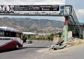 La pasarela dañada se ubica en el kilómetro 157 de la ruta Interamericana, en Nahualá, Sololá.