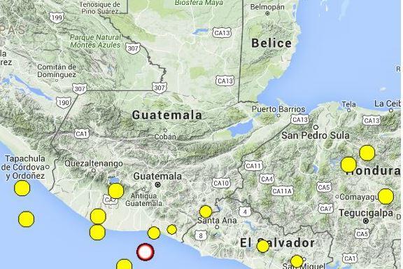 Epicentro de sismo se registró a 94 kilómetros de Santa Rosa. (Foto Prensa Libre: Conred)