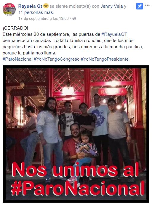 Café Rayuela es otro de los establecimientos que se unieron a la marcha ciudadana del 20 de septiembre. (Foto Prensa Libre: cortesía)