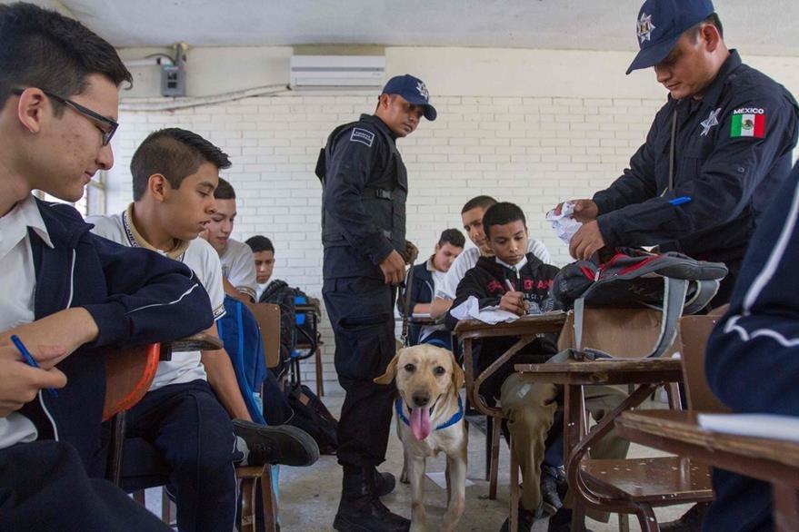 Agentes de la Policía revisan las mochilas de estudiantes para prevenir el ingreso de armas a las aulas. (Foto Prensa Libre: AFP).