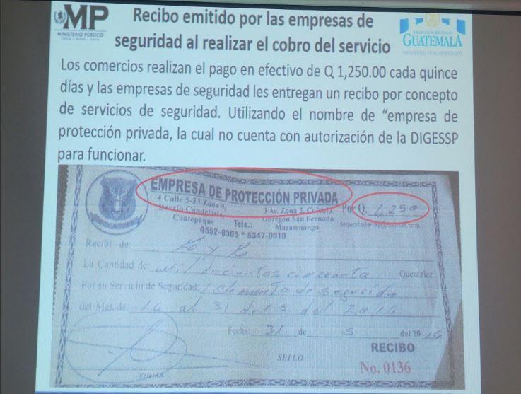 Recibo que entregaban las empresas por los pagos que recibían. Foto Prensa Libre: Ministerio Público.