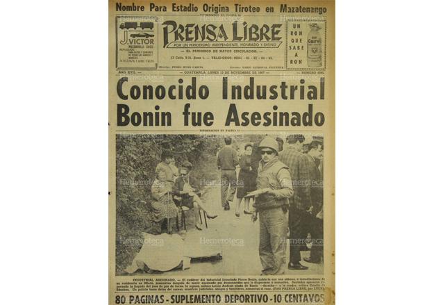 Portada del 13 de noviembre de 1967, con el asesinato del industrial Pierre Bonin. (Foto: Hemeroteca PL)