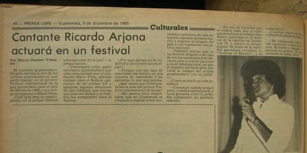 Entrevista de Prensa Libre con Ricardo Arjona en diciembre de 1985.