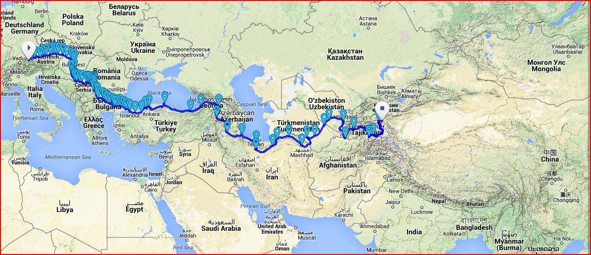 Mpara del recorrido que ha realizaro Krinningerv en algunos países.(Foto Prensa Libre: Peter Krinningerv)