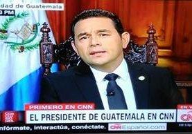 Jimmy Morales, en entrevista con CNN.