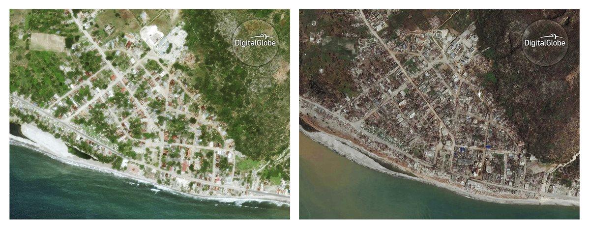 Matthew devastó Haití: imagen satelital de antes y después de su paso por Port-a-Piment. (Foto Prensa Libre: AP)