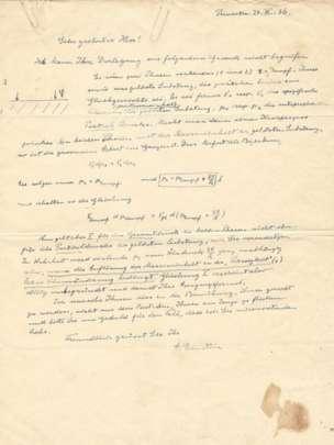 Una carta del científico Albert Einstein en la cual explica la termodinámica de los líquidos, presión y equilibrio se vende por US$47.000. RAAB COLLECTION