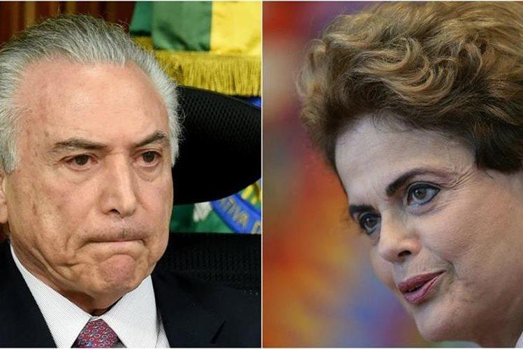 Michel Temer (i) y la presidenta suspendida Dilma Rousseff (d). Foto Prensa Libre: Agencias.