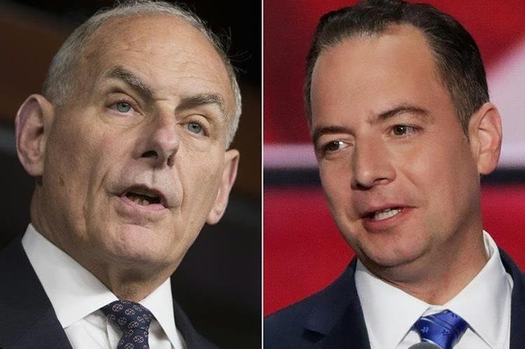 Trump destituyó a su jefe de Gabinete Reince Priebus (der) y designó al secretario de Seguridad Interior, John Kelly,(izq).(AFP).