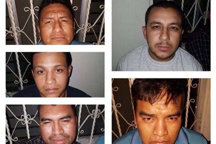 Los cinco capturados por la Policía en Zacapa. (Foto Prensa Libre: PNC).