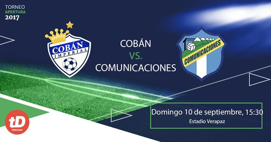 Cobán Imperial y Comunicaciones FC se ven las caras a partir de las 15:30 horas. (Foto Prensa Libre: TodoDeportes)