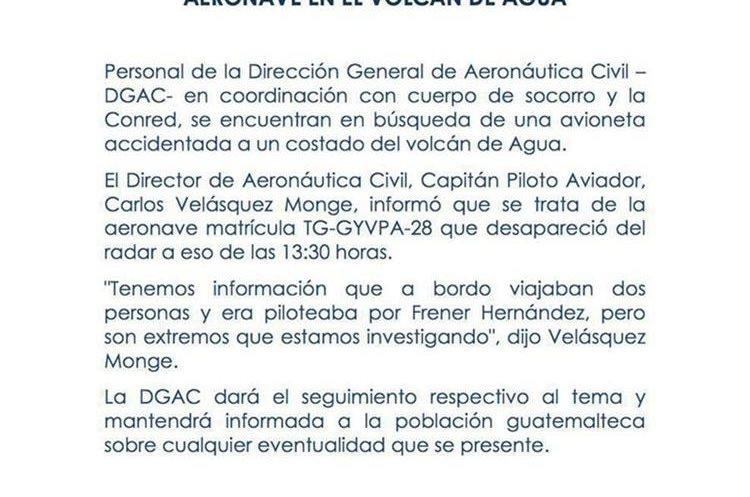 Hallan avioneta desaparecida en Guatemala con sus dos pasajeros muertos