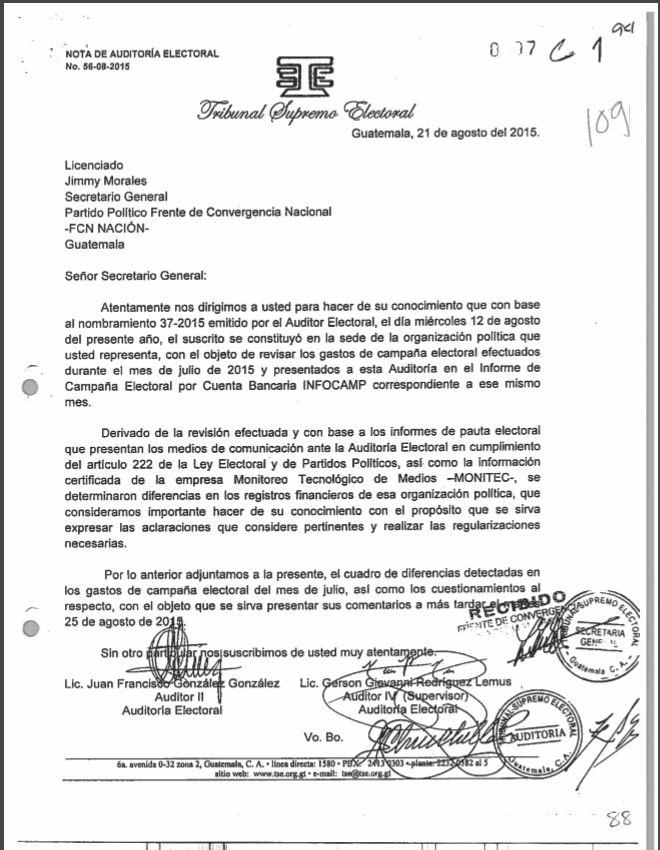 El 21 de agosto de 2015, el TSE reiteró las inconsistencias en la pauta electoral.