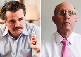 """A la izquierda, el actor Wagner Moura en su papel de Pablo Escobar en """"Narcos""""; a la derecha, Roberto Escobar (Foto Prensa Libre: THR)."""