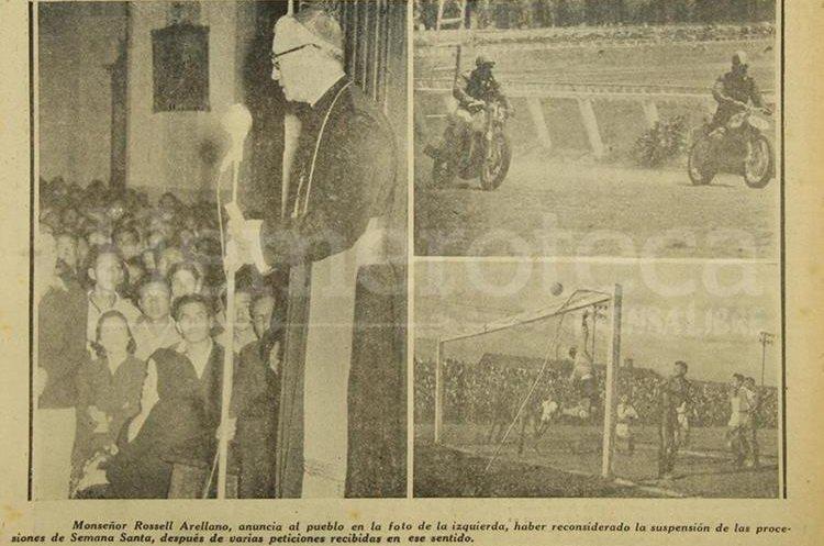 Detalle de la portada de Prensa Libre del 26 de marzo de 1956 donde aparece Monseñor Rossell dirigiéndose a los feligreses sobre el permiso de que salieran las procesiones de semana santa. (Foto: Hemeroteca PL)