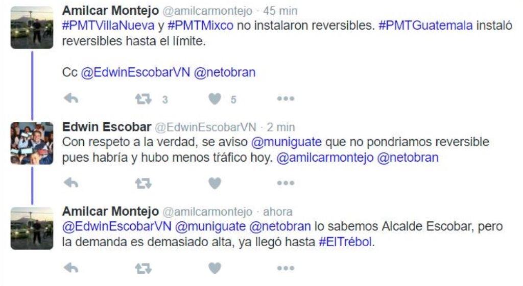 Autoridades de tránsito de las municipalidades de Guatemala y Villa Nueva dialogan por Twitter los motivos del denso tráfico que este viernes se originó en la calzada Aguilar Batres. (Foto Prensa Libre: Twitter)