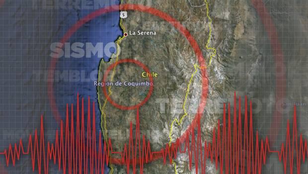 Ubicación del sismo en la región de Coquimbo.