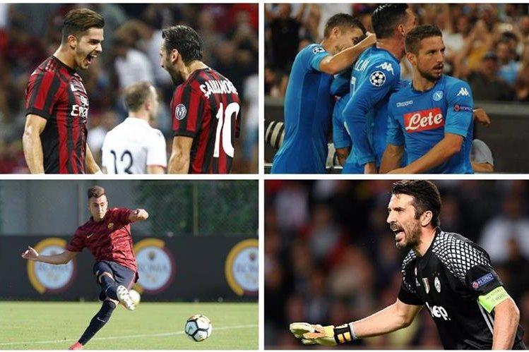 El AC Milán, la Roma y el Nápoli son los principales aspirantes a terminar con la hegemonía de la Juventus en Italia. (Foto Prensa Libre: Redes)