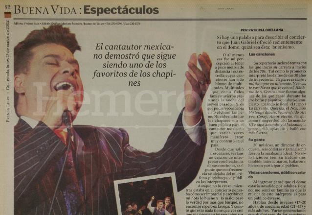 Juan Gabriel demostró en marzo de 2002 que era el favorito de los guatemaltecos. (Foto: Hemeroteca PL)