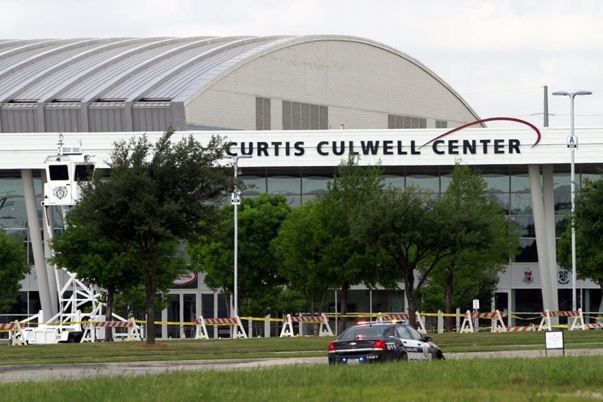 Vista del Curtis Culwell Center en Garland, Texas, lugar donde se exponen caricaturas del profeta Mahoma. (Foto Prensa Libre: AFP).