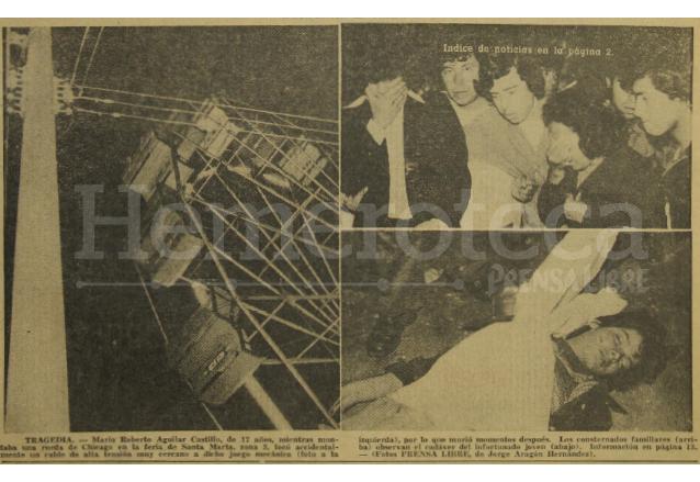 El 29 de julio de 1975 un joven perdió la vida al entrar en contacto con cables de alta tensión cuando montaba una rueda de chicago en la zona 3. (Foto: Hemeroteca PL)