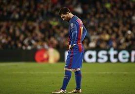 El argentino Lionel Messi y el Barcelona quedaron eliminados por la Juventus de Turín. (Foto Prensa Libre: AP)