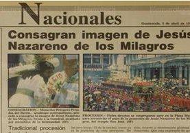 Monseñor Próspero Penados del Barrio Consagra imagen de Jesús Nazareno de los Milagros Frente a la Catedral Metropolitana, 5/4/1993. (Foto: Hemeroteca PL)
