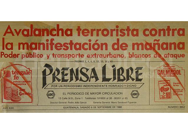 Titular de Prensa Libre del 6 de septiembre de 1980.  (Foto: Hemeroteca PL)