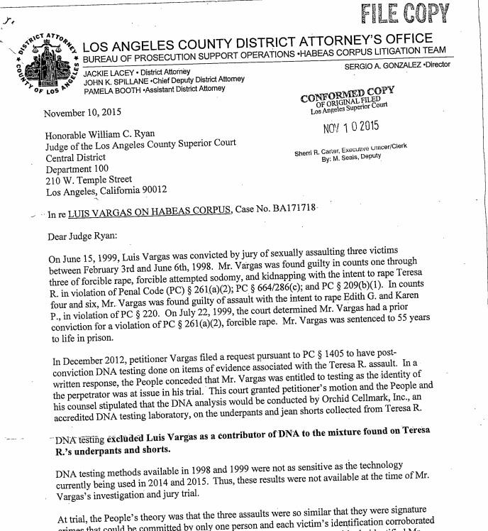 El juez William C. Ryan ordenó la liberación de Vargas. (Foto Prensa Libre: Documents.latimes.com)