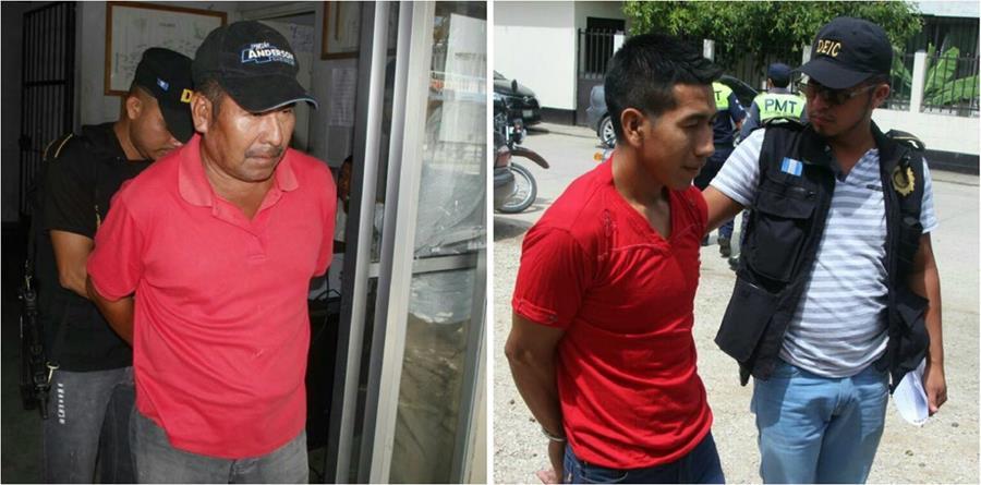 Antonio Chocoj y su hijo, Nery Chocoj, fueron apresados en San Luis, Petén. (Foto Prensa Libre: Rigoberto Escobar)