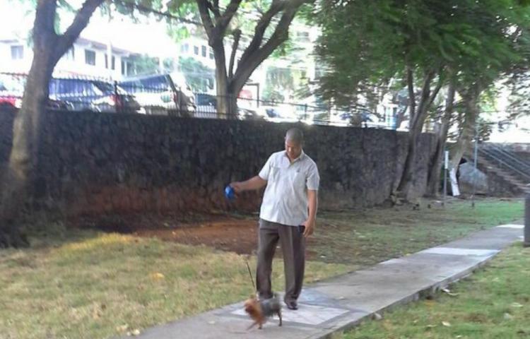 En las redes sociales circulan imágenes y video de los escoltas de la viceministra paseando un pequeño perro. (Foto: Twitter).