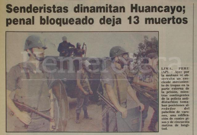 Nota periodística informando sobre motin en una cárcel de Huancayo, Perú en 1992. (Foto: Hemeroteca PL)