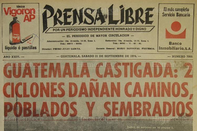 Portada de Prensa Libre del 21 de septiembre de 1974. (Foto: Hemeroteca PL)