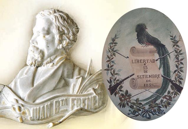 Retrato del grabador Juan Bautista Frener quien diseñó el escudo de Guatemala en 1871, a la derecha una representación pictórica de finales del siglo XIX. (Foto: Hemeroteca PL)