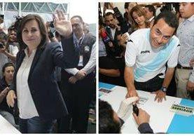 Sandra Torres al momento de emitir su sufragio.(Foto Prensa Libre: Edwin Bercian)