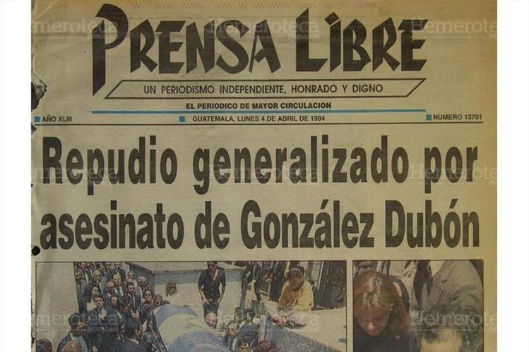 Portada de Prensa Libre en la cual informaba sobre el asesinato del Lic. Epaminondas González 4/4/1994.( Foto: Hemeroteca PL)