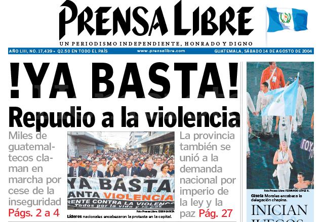 Titular de Prensa Libre del 14 de agosto de 2004. (Foto: Hemeroteca PL)