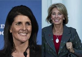 Nikki Haley (a la izq.) y la millonaria Betsy DeVos se suman al gabinete de Trump. (Fotos Prensa Libre: AP/AFP).