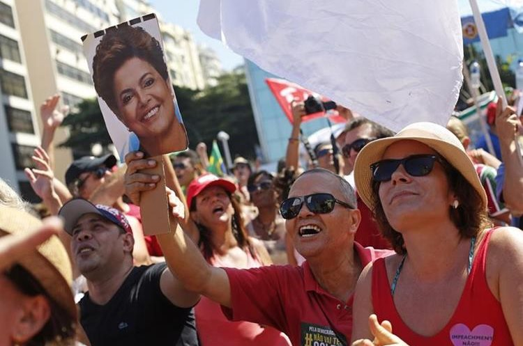 People shout slogans against the impeachment of Brazil