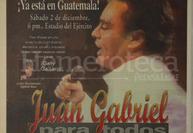 Anuncio del concierto de Juan Gabriel en Guatemala en diciembre del 2000. (Foto: Hemeroteca PL)