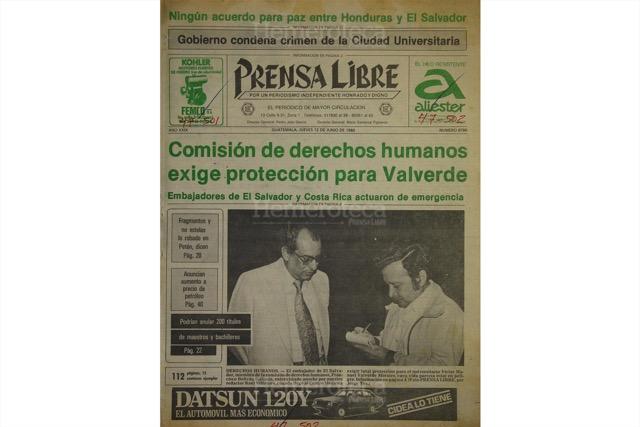 Portada de Prensa Libre del 12 de junio de 1980, con nota sobre incidente en la Usac. (Foto: Hemeroteca PL)