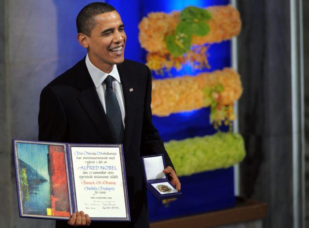 Obama recibió el premio Nobel de la Paz en el 2009. (GETTY IMAGES).