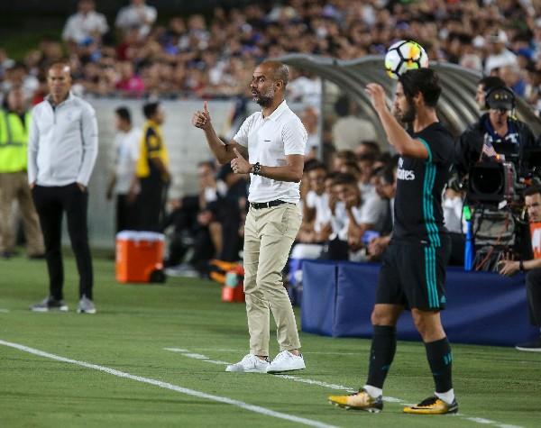 Pep reconoció que el Real Madrid nunca juega mal, y que, en esta ocasión, sus jugadores fueron muy buenos. (Foto Prensa Libre: AFP)