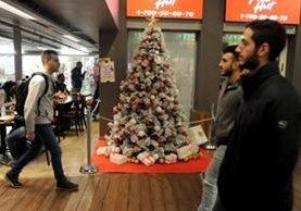 El árbol de Navidad colocado en la unión estudiantil politécnico Tejnión de Haifa. (Haaretz).