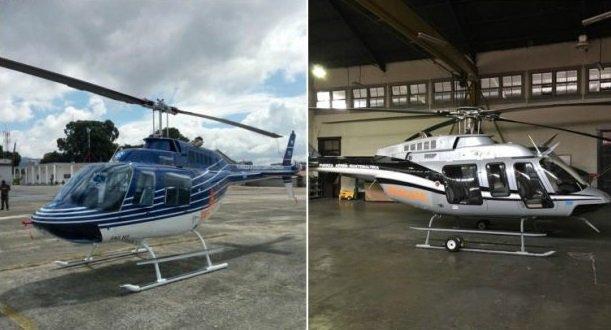 Los helicópteros que están en proceso de extinción de dominio dentro del caso de corrupción de Pérez Molina y Baldetti. (Foto Prensa Libre: Cortesía MP)