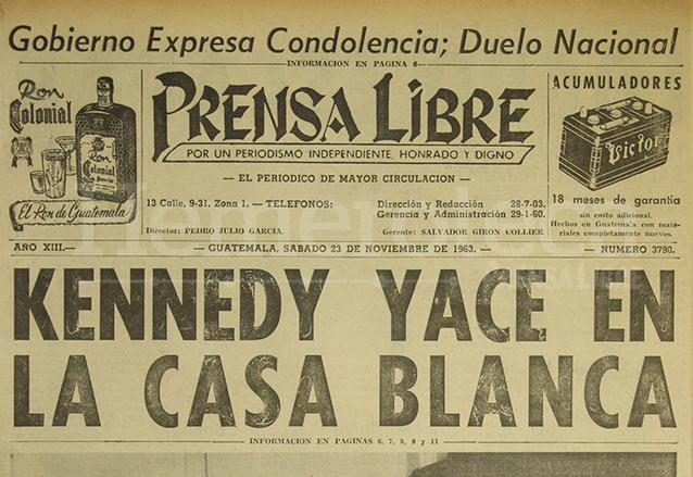 Titular de Prensa Libre del 23 de noviembre de 1963. (Foto: Hemeroteca PL)