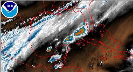 El ingresó de un frente frío a la península de Yucatán provoca lluvias durante este viernes y el fin de semana. (Foto Prensa Libre: Insivumeh)